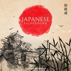 Hand drawn japanese landscape background  Free Vector