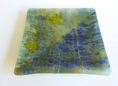 Fused Glass Plate in Blues and Greens by bprdesigns on Etsy