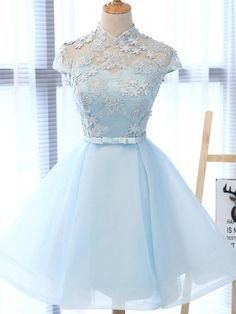 Chic party gowns, Light Sky Blue Homecoming Dress, Tulle formal gowns, High Neck Homecoming Gowns,Cap Sleeves Party Dress from Beauty Angel Cute Prom Dresses, Dresses For Teens, Elegant Dresses, Pretty Dresses, Sexy Dresses, Beautiful Dresses, Dress Outfits, Fashion Dresses, Formal Dresses
