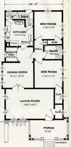 1926 Standard House Plans: The Warren (could be neat framed art for a house built in that year) Garage Floor Plans, House Floor Plans, Cedar Shingle Siding, Companies House, Craftsman Style Bungalow, Storybook Cottage, A Frame House, House Blueprints, Cottage Plan