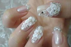 White roses and rhinestones nail design for wedding day. II Stylish & Trendy