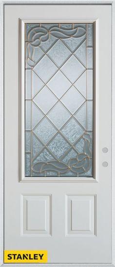 Art Deco Patina 3/4 Lite 2-Panel White 32 In. x 80 In. Steel Entry Door - Left…
