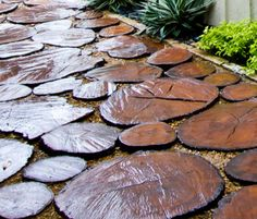 Recycled Wood Pavers - Recycle an old tree into stunning wood pavers - four inch thick secure by sand