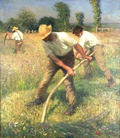 'The Mowers' painting by Sir George Clausen