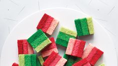 The batter is divided into thirds and tinted with increased amounts of coloring to get the ombré effect. To make both red and green cookies, you'll need to double this recipe. Holiday Cookie Recipes, Holiday Cookies, Christmas Desserts, Christmas Treats, Christmas Baking, Christmas Foods, Holiday Baking, Christmas 2017, Holiday Treats