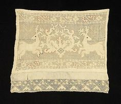 1780–1820 Culture: Russian Medium: Linen, silk Dimensions: 15 x 14 in. (38.1 x 35.6 cm) Classification: Textiles Credit Line: Brooklyn Museum