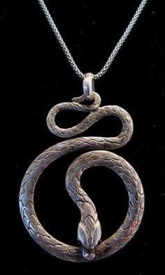 Vintage Studio Art Sterling Silver Snake Pendant Necklace