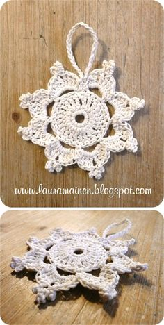 I'd love to have an English translation of this pattern: a Christmas crochet star (but I am definitely giving it a try) Crochet Christmas Decorations, Crochet Decoration, Crochet Ornaments, Christmas Crochet Patterns, Holiday Crochet, Christmas Knitting, Crochet Home, Crochet Stars, Crochet Snowflakes