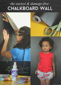The Easiest & Damage-Free DIY Chalkboard Wall via @sheenatatum