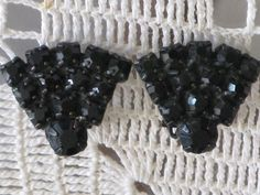 Vintage Jet Black Rhinestone Earrings E14 by delightfullyvintage, $14.00