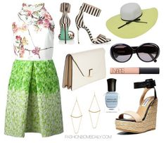 What to Wear to the Veuve Clicquot Polo Classic Giambattista Valli Printed Halter Dress Steve Madden Hamptin Wedge Sandals Valextra Isis Mini Clutch
