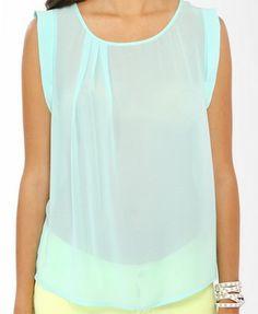 Aqua Mint Silk High Neck Sleeveless Top