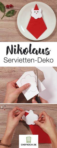 Hübsche Servietten-Deko zum Nikolaus oder für Weihnachten. Hier geht's zum Anleitungs-Video.