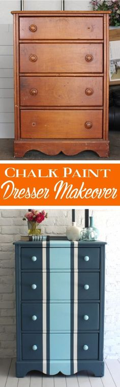 Chalk painted dresser makeover before and after. | DIY | chalk paint | refinishing | blue | stripes | furniture ideas
