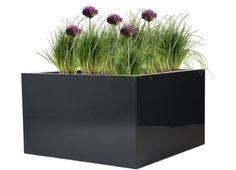 Polyester plantenbak Lotus 60x60x40 cm hoogglans antraciet-zwart