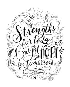 Hand lettered Strength & Hope Download for Hurricane Relief. - 100% of the proceeds will be donated