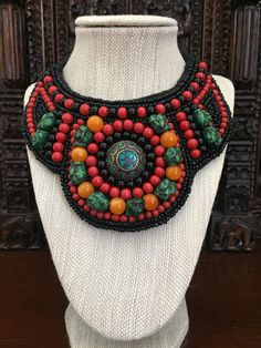 Vintage beaded tribal bib necklace...