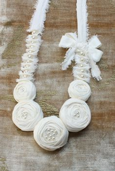Cream Rosette Flower Statement Bib / Necklace - Shabby Chic. by saidonia, via Flickr