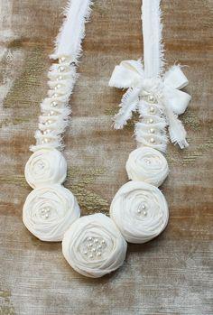 Cream Rosette Flower Statement Bib / Necklace - Shabby Chic. by saidonia, via Flickr