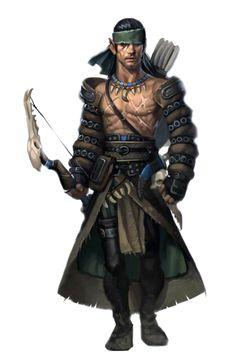 Male Half-Elf Ranger Archer - Pathfinder PFRPG DND D&D 3.5 5th ed d20 fantasy