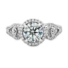 Natalie K. - 18k White Gold Halo Diamond Engagement Ring with Side Stones NK18728-W