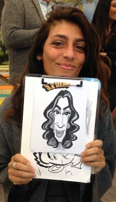Caricatures at Secret Escapes, Holborn London today, drawing with a colleague. Best caricaturists in London!