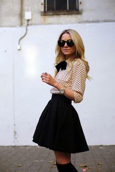 bow-tied blouse + skater skirt