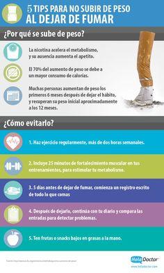 5 tips para no subir de peso al dejar de fumar. #infografias #salud