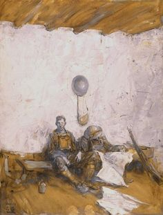 Two World War I soldiers sitting in a room