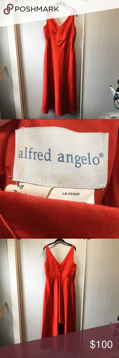 "Alfred Angelo gown Beautiful Alfred Angelo gown. Worn once by bridesmaid in wedding. Is a beautiful burnt orange color, would be perfect for a late summer or fall wedding or event.  Shows minor signs of wear but is in generally great condition!  Approx 57"" long Busy is approx 19"" across  Tag says 18 but fits like a 14-16  Please ask questions!  Open to offers! Alfred Angelo Dresses Prom"