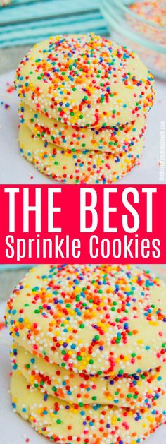 The BEST Sprinkle Cookie!! These are ones you have to try, pin it now! #cookie #sprinklecookie