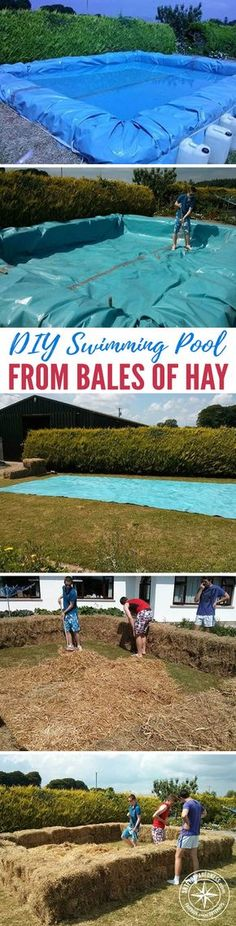 DIY Swimming Pool From Bales Of Hay I don't know about you guys but I can't afford a swimming pool. I can't even afford an above ground swimming pool either. That being said, I do have access to free hay from my dads farm.