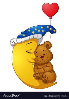 Cartoon teddy bear sleep on the moon Royalty Free Vector Good Night Teddy Bear, Diy Teddy Bear, Knitted Teddy Bear, Cute Teddy Bears, Bear Toy, Crochet Teddy Bear Pattern, Emoji Images, Tatty Teddy, Stuffed Toys Patterns