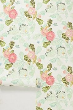 Watercolor Peony Wallpaper - eclectic - wallpaper - Anthropologie: Love these colors!