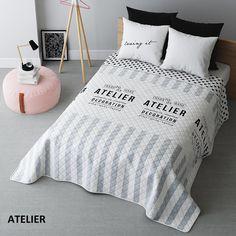 Oboustranné deky na postel v bílo šedé barvě ATELIER
