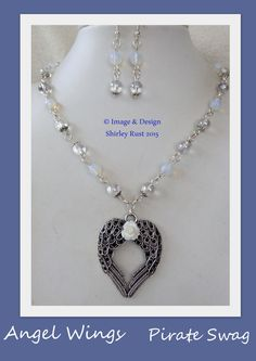 OOAK Angel Wings necklace & earring set by PirateSwag on Etsy