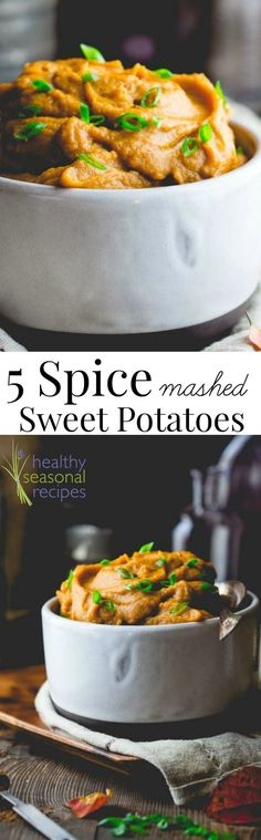 Vegan Paleo Five Spice Mashed Sweet Potatoes. They're the perfect Thanksgiving or Christmas Healthy Side Dish! #healthy #thanksgiving #christmas #sidedish #sweetpotato #paleo #vegan