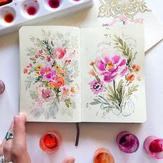 I think I've decided that I do my best doodles from my bed... . . . #doodle #dsfloral #watercolors #floral #watercolorfloral #paints