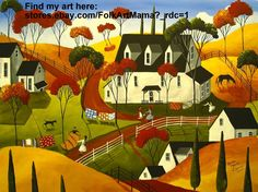 """Folk art painting """"Country Quilts"""" quilt farm landscape naive primitive Autumn hills rural dirt road"""