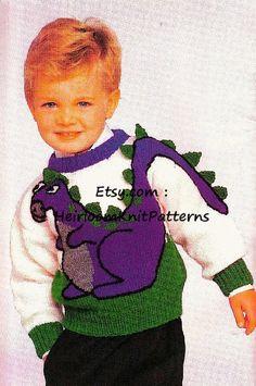 Dinosaur Sweater Knitting Pattern PDF Sizes Kids Childs Boy Dinosaur Motif Jumper Pullover P Knitting For Kids, Crochet For Kids, Knitting Projects, Baby Knitting, Knit Crochet, Crochet Children, Knitting Ideas, Dinosaur Jumper, Dinosaur Pattern