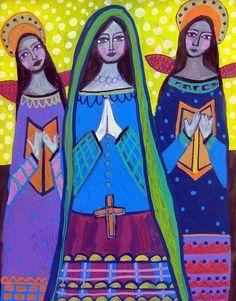Mexican Folk Art  Angel Art Primitive Folk Art by HeatherGallerArt, $24.00