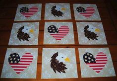 $15.95     Set of 12  American Eagle and Heart Flag  Quilt Top Blocks