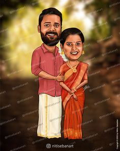 Hindu Wedding caricature, Custom Caricatures illustration from photos, Save the date, Indian caricature, Caricature Wedding Gifts, Caricature Invite, guests sign in board, India Wedding, Kerala wedding, nitisebanart Love Couple Wallpaper, Wedding Caricature, India Wedding, Save The Date, Wedding Gifts, Photo And Video, Caricatures, Disney Princess, Couples