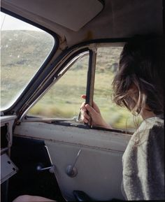 old car window down girl and countryside
