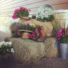 the entry decoration my daughter created for my son's wedding rehearsal dinner. It set the tone for a fun western themed dinner/dance. Barn Parties, Western Parties, Barn Dance Decorations, Wedding Decorations, Farm Wedding, Rustic Wedding, Dance Themes, Daddy Daughter Dance, Cowboy Party