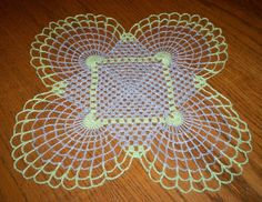 Vintage Hand Crocheted Lace Doily 14 x 14 Estate Item Metallic Accent Thread SEE