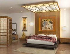 ベッドと合わせた照明が印象的