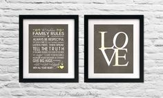 Family Rules and Love Art Prints with by 7WondersDesign on Etsy