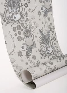 Angie Lewin - Nature Table wallpaper - warm greys