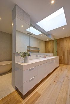 interior, Bathroom Design Ideas With Wood Wall Large Mirror Stainless Faucet Wooden Flooring White Bath Tub Bathroom Design Tool Small Bathroom Design Bathroom Design Gallery Grey Tile Wall Bathroom Home Design: Stunning Modern Interior Designed Inspired by Serenity in Australia